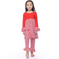 Wholesale Apron Tops - Latest baby clothing Ruffle Red White Striped Baby Apron dress top and pants set ,Christmas Baby clothes