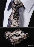 "Wholesale Men S Silk Skinny Ties - Wholesale-TF2015D7 Gold Navy Blue Paisley 2.75"" 100%Silk Woven Slim Skinny Narrow Men Tie Necktie Handkerchief Pocket Square Suit Set"