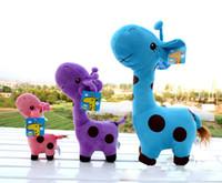 Wholesale Super Soft Giraffe - Wholesale-Hot sale giraffe doll plush toys Super soft short plush deer color dolls