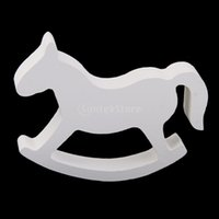 Decoración Al Por Mayor Del Hogar De Madera Baratos-Al por mayor-White Wooden Small Horse Rocking Horse Home Decor Kids Toys envío gratis