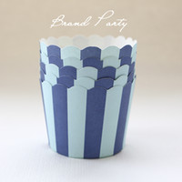 Wholesale Cupcake Cases Blue - Wholesale Double Blue 100pcs lot High temperature baking cups greaseproof paper muffin cases cupcake wrappers party supplies