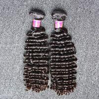 26 zoll tiefes, welliges haar großhandel-8 ~ 30 inch peruanische menschliche Haarwebart natürliche Farbe tiefe Welle wellig 2 Bundles Haareinschlagfaden freies Verschiffen