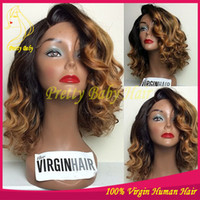 Wholesale Light Blonde Curly Wig Cosplay - Blonde Ombre Lace Front Wigs Human Hair Virgin Brazilian Glueless Full Lace Human Hair Wigs Ombre Two Tone #1B 30