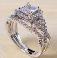 Wholesale setting paving stones resale online - Professional Pave setting Jewelry sterling silver White sapphire Princess Cut Simulated Diamond Wedding Bridal Women Ring gift