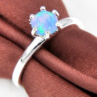 Wholesale Family Holiday Party - Luckyshine 6 PCS 1LOT Superb Mother's Gift Round Blue Fire Opal Gemstone 925 Sterling SilverWeddiing Rings Family Friend Holiday Gift Rings