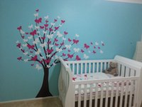 cherry blossom decal nursery achat en gros de-Art Grand arbre mur nurseries Decal Fleur de cerisier Autocollant enfants Vent H108in