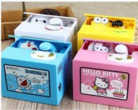 Wholesale Kids Favor Boxes - Automated Steal Coin Piggy Bank Hello Kitty Minions Baymax Doraemon Saving Money Box Coin Bank Kids Gift