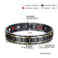 Wholesale European Claw - Free Shipping! 4in 1 Bio Men European Titanium Steel Energy Magnetic Germanium Therapy Radiation Fatigue Health Bracelet
