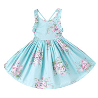 Wholesale Girls Vintage Style Dress - 3 Colors Girls Vintage Floral Toddler Dress Ruffles sleeve Backless Blue pink printed baby girls summer dress Boutique girls Clothes 1-12Y