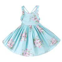 mavi renk elbise toptan satış-3 Renkler Kızlar Vintage Çiçekli Toddler Elbise Ruffles kollu Backless Mavi pembe baskılı bebek kız yaz elbise Butik kız Giysileri 1-12Y