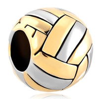 Wholesale Large Metal Circle - Fashion Jewelry Large Hole Metal Bead Volleyball Sports European Spacer Bead Charms Fits Pandora Bracelet