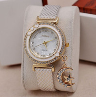 Wholesale Star Chronograph - Luxury Diamond wristwatch Female Crystal Watch with Shiny Star moon Pandent shell style Leather Watch Kimseng Ladies Quartz watch
