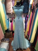 Wholesale Real Stone Flooring - New Boat Neck See Through Back zuhair murad Evening Dress 2015 Court train Lace Mermaid prom dress with crystal stones