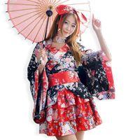 Wholesale Cosplay Kimono Black Dress - Wholesale-Japanese Lolita Kimono Angelic Pretty Rakula Lolita Dress Costume Sakura Anime School Sirl Cosplay Outfit Fancy Maid Kimonos