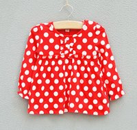 Wholesale Cheapest T Shirt White - The cheapest ! !Children Children Girls Polka Dot long-sleeved shirt Children T-shirt T-shirt Red White Spring