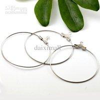 Wholesale Hoop Earrings Diameter - 200pcs Wholesale Rhodium Silver Plated 35mm in diameter Earring Hoop for Earring Jewelry DIY Making