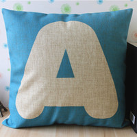 "Wholesale Turquoise Cushion Covers - Turquoise colour ""A"" Design Linen cotton pillow cover  cushion cover sofa cushion office nap cushion 45cm*45cm"