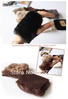 Wholesale gloves computer - Wholesale-free shipping brand new Winter imitation rabbit fur glove half finger mitts short fur computer gloves girl mittens
