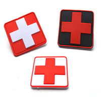 Wholesale red cross clothing for sale - Medical PVC Patch Red Cross Patches Tactical Armband Applique Badge Clothing Jacket Bag Cap Badges