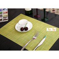 Color PVC Table carrée Placemats Tissage Artisanat Art Imperméable Western Mats Dessous de verre Décoration de Noël HOT SD748
