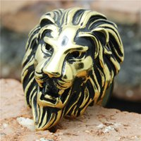 refrigerador rei venda por atacado-1 pc Venda Quente Legal Golden Lion King Ring Aço Inoxidável 316L Popular Punk Man Boy Novo Leão Anel