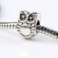 Wholesale Owl Metals - Owl Alloy Metal Big Hole Beads 100pcs lot 7.5x10x7.6 mm Tibetan Silver Fit European Charm Bracelet L1287