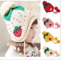 Wholesale Knitted Strawberry Girls Hat - New Hot Sale Children Warm Winter Strawberry Ear Muff Knitted Hat Korean Style Cute Baby Boys Girls Caps Kids Hats Boy Girl Child Cap