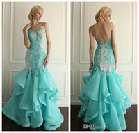 Wholesale Aqua Blue Lace Evening Dresses - 2016 Elie Saab White and Aqua Blue Mermaid Prom Dresses Pageant Dress Lace Long Open Back Organza Ruffled Evening Gowns