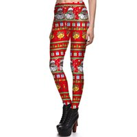 Wholesale Ivory Ornament - 2017 NEW 3779 Colorful Christmas Tree ornament Bal Prints Sexy Girl Pencil Yoga Pants GYM Fitness Workout Polyester Women Leggings Plus Size