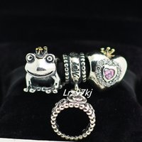 Wholesale Lampwork Frog Charm - Authentic 925 Sterling Silver Charms and Murano Glass Bead Set Fits European Pandora Jewelry Charm Bracelets-Frog Prince Sets