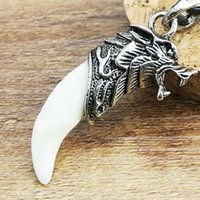 Wholesale Jade Dragon Pendant Wholesale - Men Antique Silver Tribal Stark Wolf Fang Tooth Pendant Necklace, Vintage Wolf Tooth Dragon Alloy Pendant Necklace ZMPJ180#C4