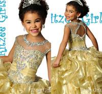 boncuklu dantelli elbise toptan satış-Glitz Ritzee Altın Kristal Boncuklu Dantelli Fırfır Organze Kız Pageant elbise 2015 Sparkly Ucuz Çiçek Kız Elbise Düğün Törenlerinde Için