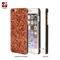 Wholesale Designer Case For Cell - Flower Engraving Designer Wood Mobile Phone Skin for iPhone 5 5S 6 6S 6Plus 7Plus Plus Hybrid Rubber Cover Cell Phone Capa Protector