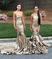 Wholesale Halter Mermaid Dress Bling - Mermaid Halter Backless Champagne Bling Sequined Prom Dresses 2018 Ruffles Sweep Train Party Dresses Evening Wear Black Girl