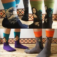 Wholesale Wholesale Lavender Oils - 24pcs=12pair NEW vintage abstraction oil painting series Mona Lisa Cupid cartoon cotton men's stocking brand Sport Socks 24pcs lot
