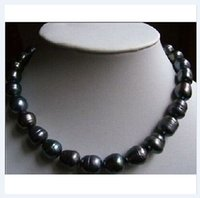 Wholesale Baroque Tahitian Pearl Necklace - 2014 NEW 18inches 11-13MM NATURAL TAHITIAN BLACK BAROQUE PEARL NECKLACE 14KT