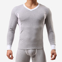Wholesale Thermo Underwear Set - Men Winter Keep Warm Casual Home Long Johns Soft Thermal Underwear Cotton Men Thermo Underpants Suit Legging Long Johns Set Multicolor