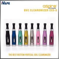 aspire venda por atacado-Aspire CE5-S BVC Clearomizer 100% Autêntico Aspire CE5S BVC BDC E Cigarro eletrônico Atomizadores eGo 1,8 ml CE5S Vaporizador com bobinas BVC BDC