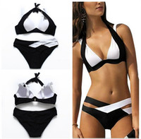 f6fdd1f8f1 2016 Bandage Swimwear Patchwork Bikini Women Halter Swimsuit Push Up  Swimsuits Block Color Bathing Suit Biquini Black And White