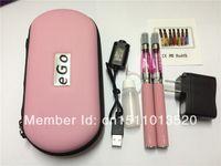 Wholesale E Cigarette Twin - ego ce4 double starter kit electronic cigarette, ego-T twin kits with CE4 1.6ml 2.4ohm clearomizer e-shisha pen
