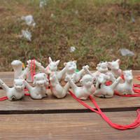 ingrosso ceramica zodiaca-Zodiaco cinese Acqua Ocarina Regalo per bambini Design creativo Ceramica Fischietto Arti e mestieri per molti stili 1 15yx C