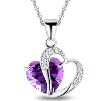 Wholesale Newest Necklaces - Newest Women Crystal Love Heart Pendants Necklaces Jewelry Fashion Girls Lady Heart Crystal Amethyst Pendant Necklace NEW Jewelry