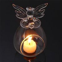 Wholesale Glass Christmas Home Decoration - Home holiday Christmas decorations for creative transparent crystal glass angel candle holder wedding candlelight dinner gift