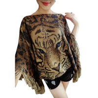 Wholesale Tiger Batwing Sweater - Wholesale- Tiger head printed women cropped tassel sweater pullover knitwear Leopard Cape shawl short coat Batwing slash neck Poncho jumper