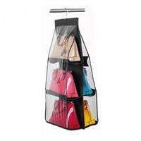 Wholesale women handbag rack - Wholesale-Ladies Handbag Storage Organizer Closet Women Tote Rack Hangers 6 Pockets for Hanging Bag Purse Handbags Bags Household Storage