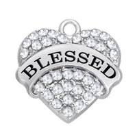 Wholesale blessing mix - Word Blessed Charms Pendant Mixed Crystal Heart Love Women DIY Jewelry Rhodium Plated Fashion Findings Components