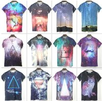 Wholesale Tee Shirt Triangle Galaxy - Wholesale-Harajuku 2015 New Women men's fashion 3d funny tops tees printed Triangle Galaxy space t shirt short sleeves casual tshirt