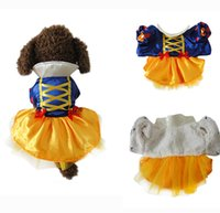 Wholesale Dogs Dress White - 10 PCS Lot Pet Supplies Warm Snow White Princess Dress Halloween Christmas Cosplay Costumes Autumn Winter Party Small Dog Cat Clothes