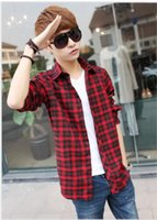 Wholesale Yellow Plaid Shirts For Men - Wholesale-Promotion new Fashion Double pocket plaid short-sleeved shirts men casual slim fit shirts for men checked shirt,M-XXL