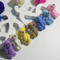 Wholesale Plush Keychain Bear - Bulk 3.5CM Plush Mini Lovely Teddy Bear Stuffed Animals Pendant For Keychain Bouquet jewellery accessory gift Urso De Pelucia Oso 7color